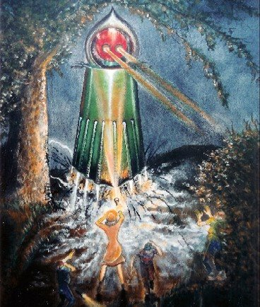 Representation of the Flatwoods Monster encounter according to the witnesses. Mechanical creature in the woods projecting light beams from it's eyes.